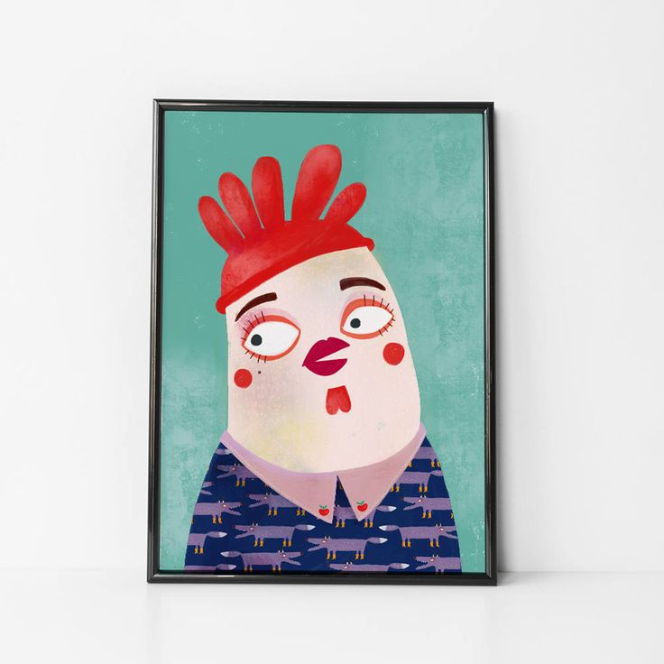 Chiken Print, Hipster poster, kitchen print,wall art, hipster chicken, wall decor print, Wall Art decor, baby poster