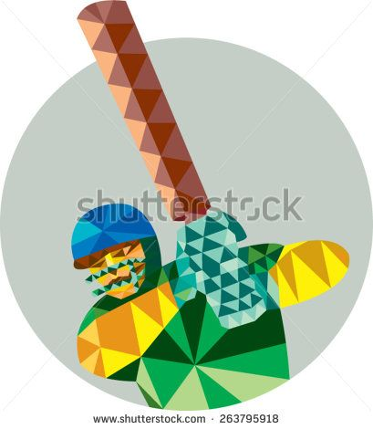 Low polygon style illustration of a cricket player batsman with bat batting set inside circle.
