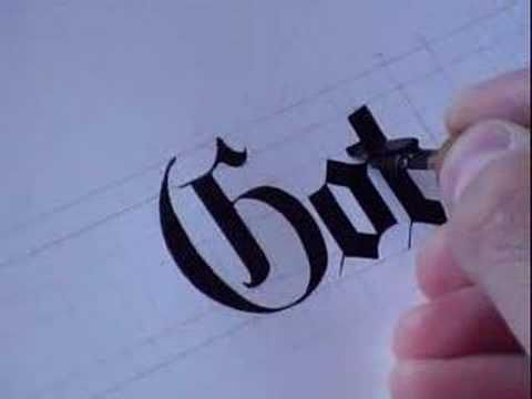 A Calligraphy Clip In Gothic Style http://calligraphywriting.blogspot.in/2010/10/taking-care-of-calligraphy-pen.html
