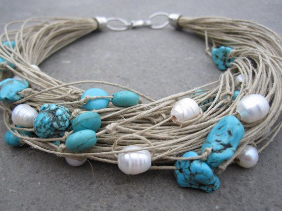Necklace natural linen thread knots freshwater pearls by espurna88, €29.60
