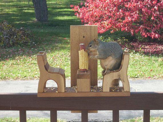 Squirrel Feeder by rkwoodcrafts on Etsy, $24.95