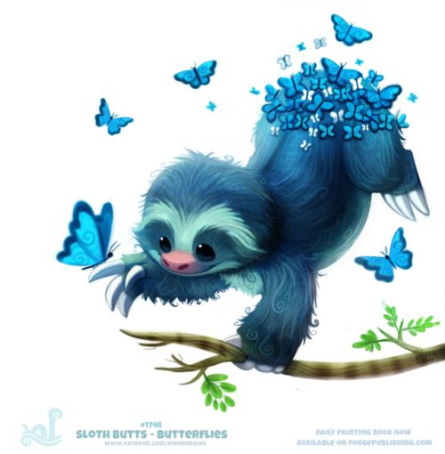 Daily Painting 1748# Sloth Butts - ButterfliesDaily Paintings Book now available: http://ForgePublishing.com/shop For full res WIPs, art, videos and more: https://www.patreon.com/piperdraws Twitter • Facebook • Instagram • DeviantART