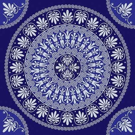 vector seamless lace Traditional vintage round Greek ornament  Meander  and floral pattern on a blue background