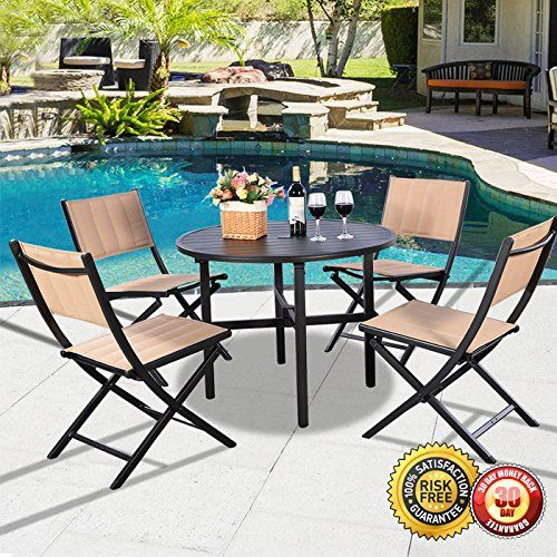 New 5 PCS Patio Outdoor Folding Chairs Table Furniture Set Backyard Bistro Textilene *** Visit the image link more details.