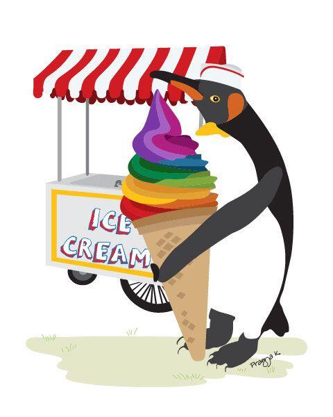 Penguin Nursery art print  - Ice-Cream Cart - Ice cream print, Penguin art, nursery animal art, Baby decor, playroom decor, Toddler Room by PragyaK on Etsy https://www.etsy.com/listing/107592175/penguin-nursery-art-print-ice-cream-cart