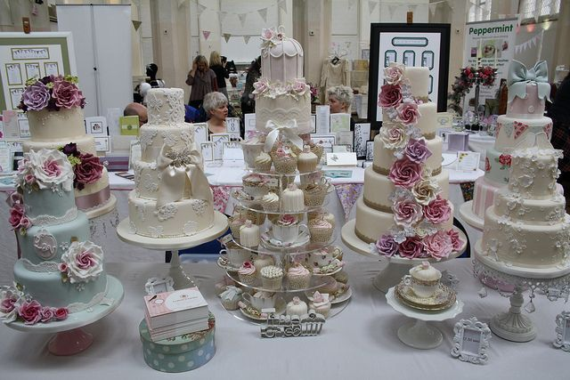 Beautiful wedding cakes by 'Cotton and Crumbs' at the Vintage Chic Wedding Fair in Birmingham.
