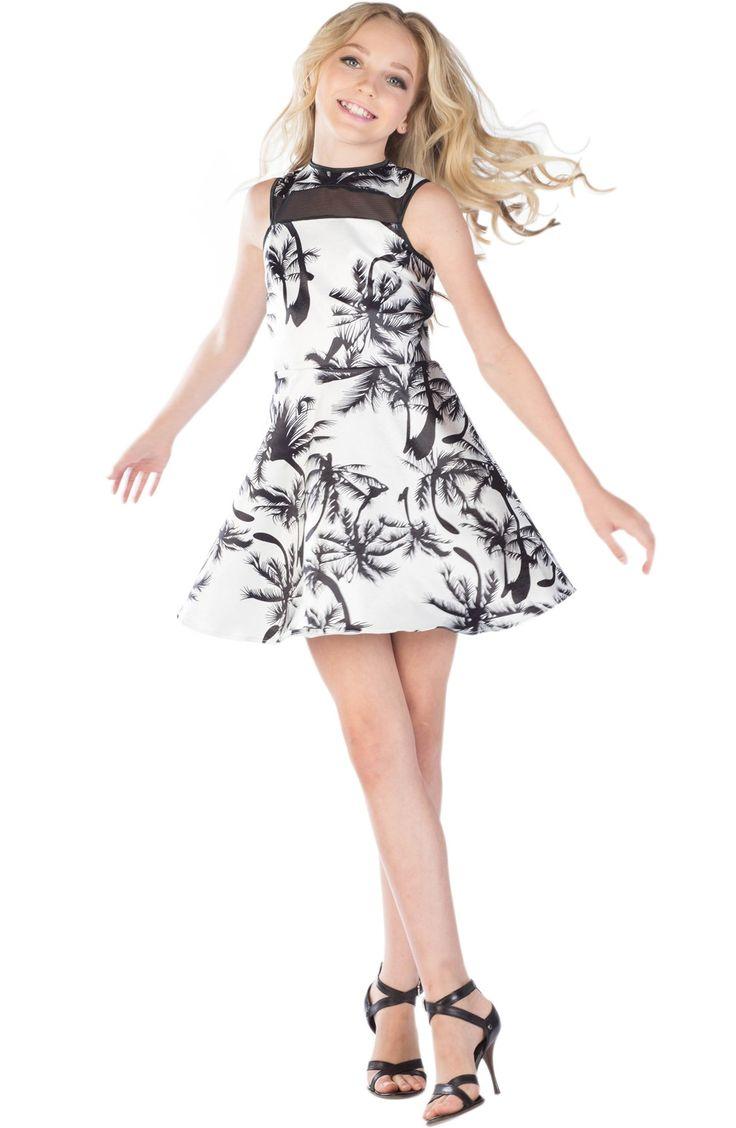 MISS BEHAVE 'Nadya' Print Skater Dress (Big Girls)