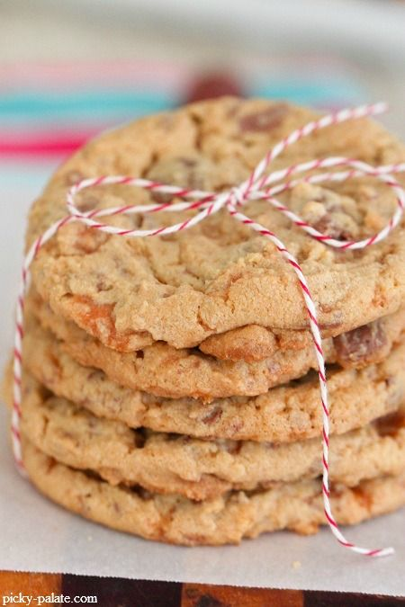 Butterfinger Peanut Butter Chocolate Chunk Cookies from Picky Palate