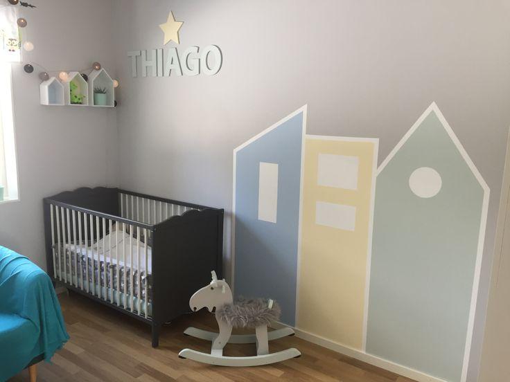 Thiago rum klart! Pojkrum pastell grön gul blå grå hus