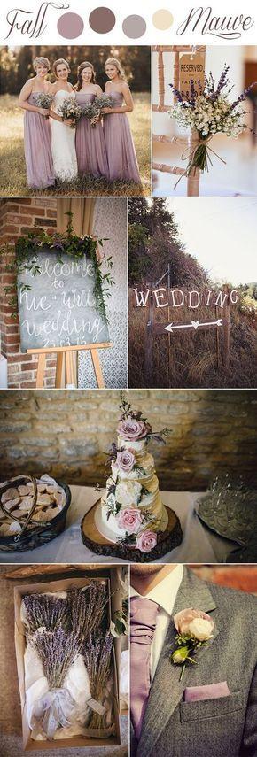 fall mauve and lavender romantic rustic wedding colors