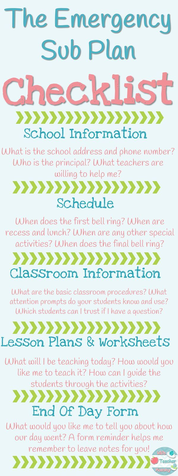 The Emergency Sub Plan Checklist. 5 Things Your Emergency Sub Plans MUST Include! If you include all of these things, you can rest easy when you have to take an unexpected day off. Your sub and your students will have everything they need! FREEBIE and Read more: http://www.wifeteachermommy.com/2016/02/5-things-your-emergency-sub-plans-must.html