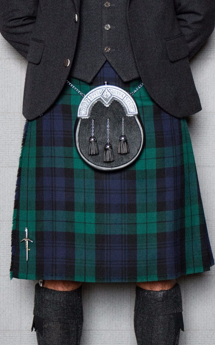 We'd recommend teaming Black Watch tartan with a grey tweed jacket and waistcoat and dark accessories to bring out the navy tones in the kilt.