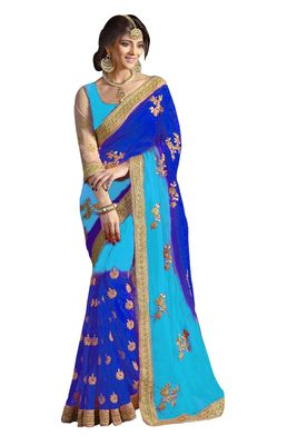 Georgette Blue Colouerd Figure Fattering Saree With Blouse Sarees on Shimply.com