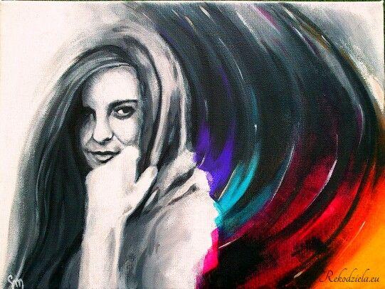 'Z ciemności' 'From darkness' Painting at canva, acrilic. #girl #wings #rainbow Rekodziela.eu