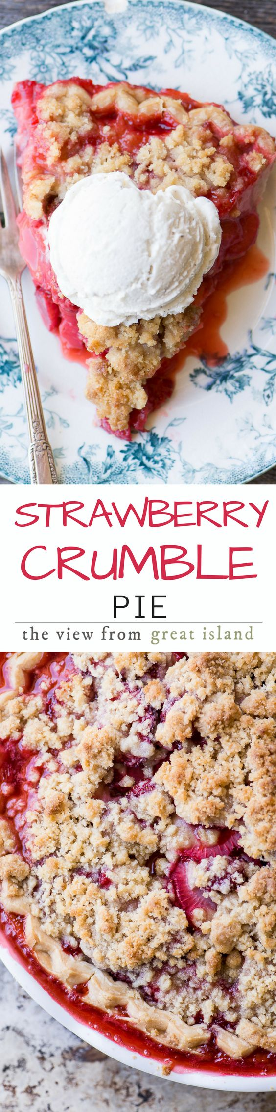Strawberry Crumble Pie ~ you're not likely to come across another pie that screams spring quite as loudly this one...if spring were a pie...well, you get the idea. This one is fruity, juicy, and berrylicious. | dessert | berries | summer | Mother's Day| recipe | Memorial Day