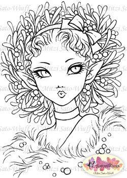 Mistletoe Fairy Digital Stamp By Aurora Wings