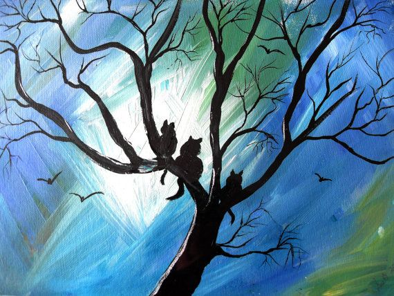 Abstract Cats PRINT ORIGINAL PAINTING  Cats in by darinecraftyshop, £15.00
