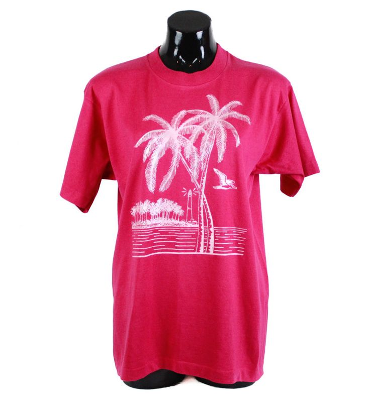 Vintage 80s, 90s, Pink, Tropical Print T-shirt, Top, 90s tee, 90s t-shirt, unisex, 80s t shirt, 80s clothing, 90s clothing, vintage t-shirt by FannyAdamsVC on Etsy