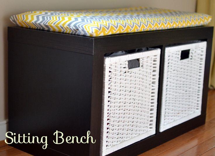 Sitting and storage bench { IKEA storage shelf unit }