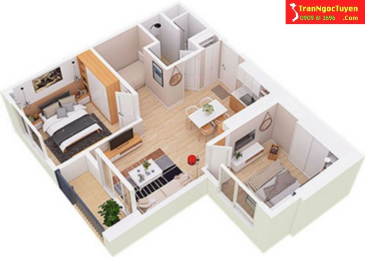 Thiết kế căn hộ West Bay Ecoaprk diện tích 55m2 Hotline tư vấn West Bay Ecopark 0909.61.3696 gặp Ngọc Tuyền