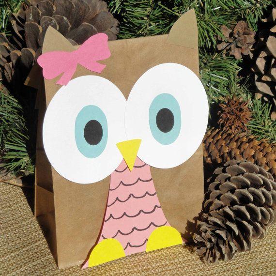 Hoot Owl Treat Sacks Woodland Forest Bird Valentines by jettabees