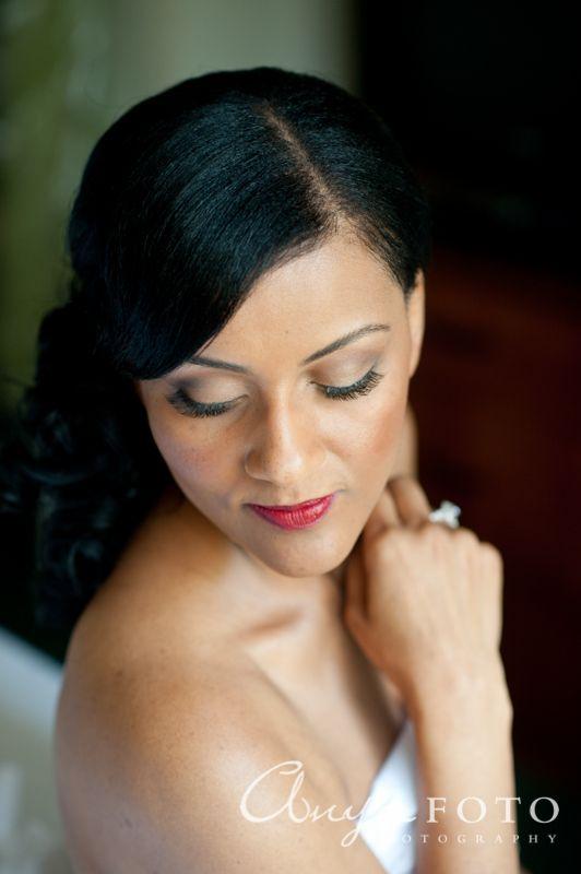 anyafoto.com, wedding makeup, bridal makeup, dark skin tone, false lashes, red lip, neutral eye,