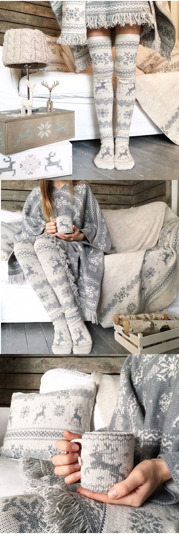 30% OFF Knee High Winter Pattern Knit Thick Wool Socks, Woman Leg Warmers, Beige & Grey, FREE Gift Wrapping, For Girls