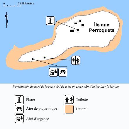 Carte des sentiers et des installations de l'île aux Perroquets, Minganie