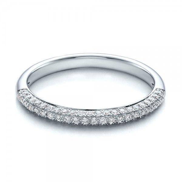 Contemporary Pave Set Diamond Engagement Ring Matching Wedding White Gold