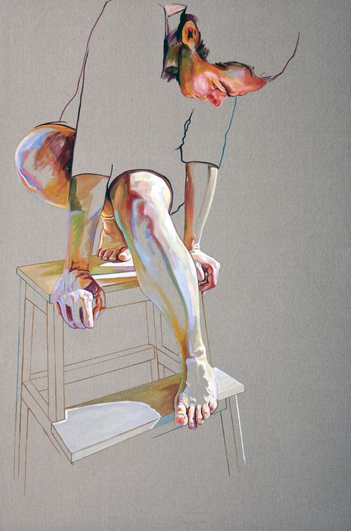 "The only part of her that felt real anymore, alive anymore was her lived-in skin. Everything else was just an illusion.   Saatchi Art Artist: Cristina Troufa; Acrylic 2011 Painting """"Pedestal"" - SOLD"""