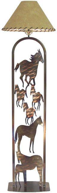 Charming Lone Star Western Decor: Horses Metal Art Floor Lamp $349.95