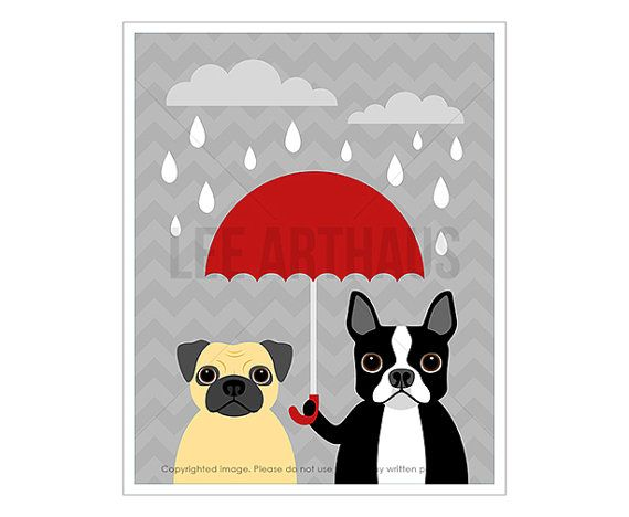 59D Dog Print - Boston Terrier and Pug Dog with Red Umbrella Wall Art - Funny Dog Wall Art - Pug Wall Art - Boston Terrier Art - Pug Print