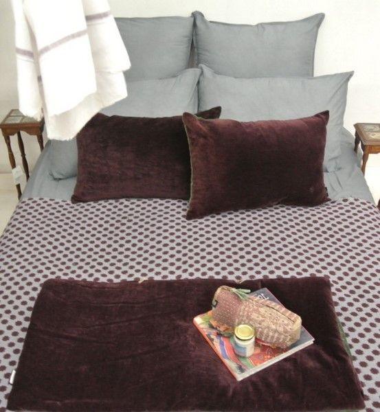 """AUBERGNE/GRIS plaid coton, coussins et sur-matelas velours, parure de lit en coton """"mulmul"""""""