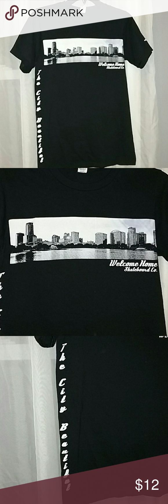 """Welcome Skateboard T Shirt Welcome Skateboard Company black t shirt . Side graphic reads """"The City Beautiful """" Anvil Shirts Tees - Short Sleeve"""