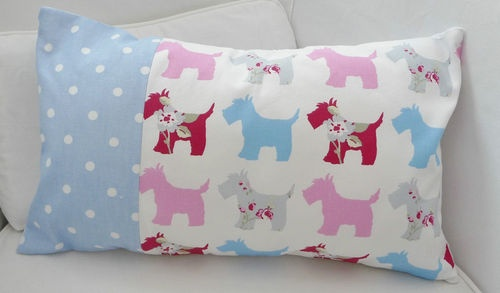 NEW SHABBY CHIC SCOTTIE DOG FABRIC OBLONG CUSHION WITH PAD - PINK BLUE WHITE