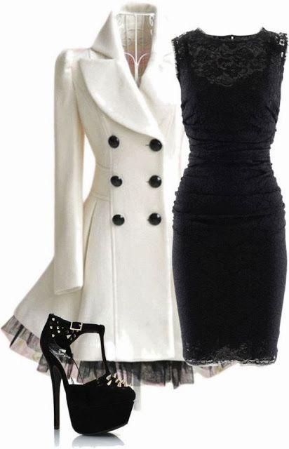Stylish white trench coat, black dress and high heels