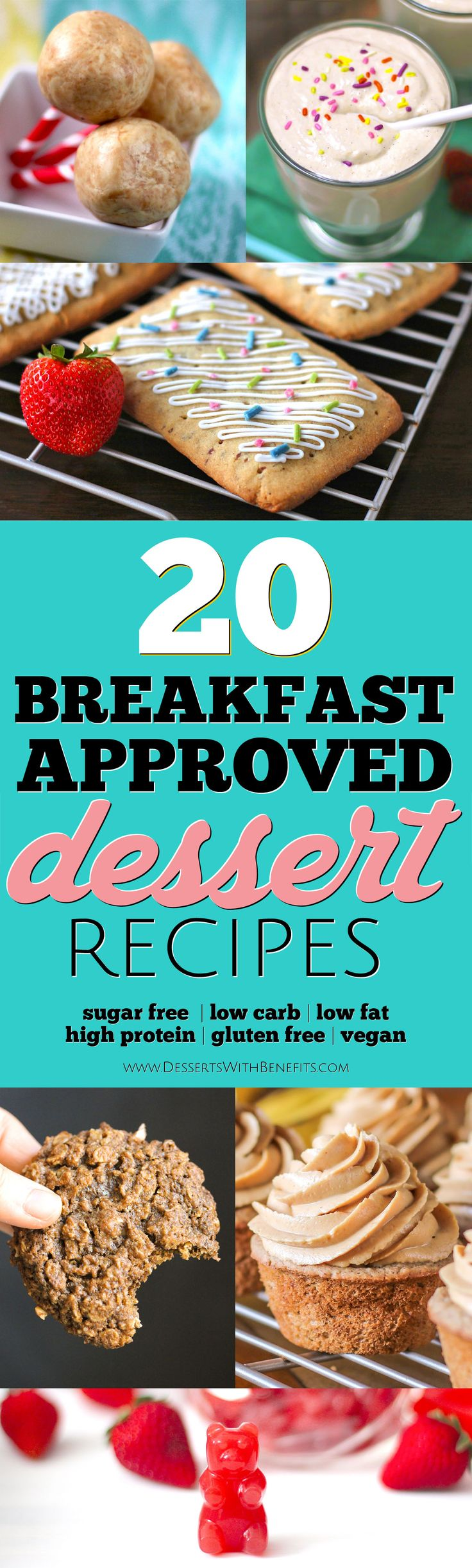 20 Breakfast-Approved Healthy Dessert Recipes -- if you're the type of person who needs to eat something sweet in the morning, this roundup was MADE for you! From Fudge Brownies to Cake Batter Dip to Mocha Mousse to Cookies, with sugar free, low carb, low fat, high protein, high fiber, gluten free, and vegan options.