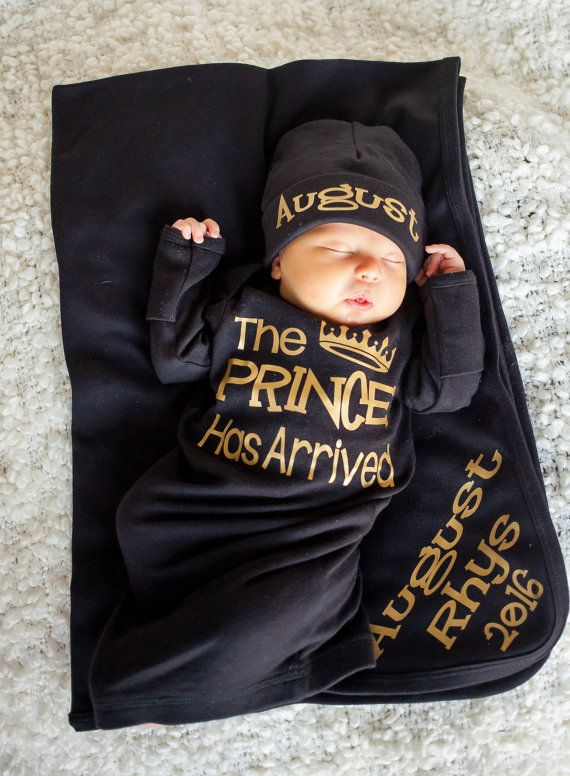 Prince Has Arrived newborn boy black and gold bodysuit  take