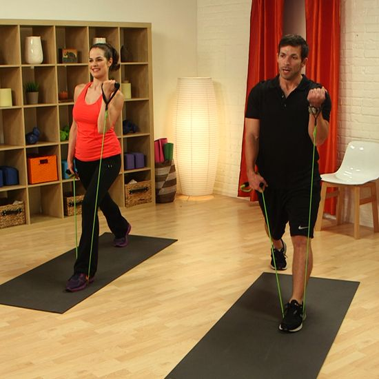10-Minute Do-Anywhere Resistance Band Workout-Each move incorporates upper and lower body for a total body ten minute work out.