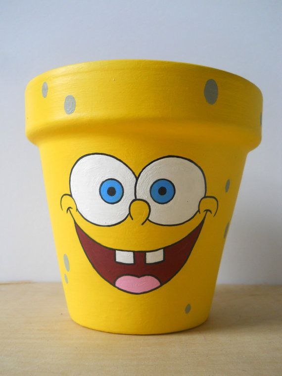 Spongebob Squarepants Hand Painted Flower Pot by GingerPots