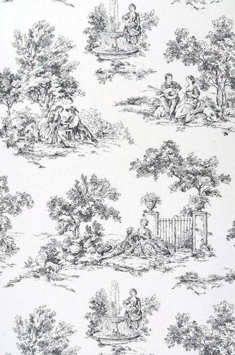 Toile de jouy 36 design pinterest - Papier peint toile de jouy ...