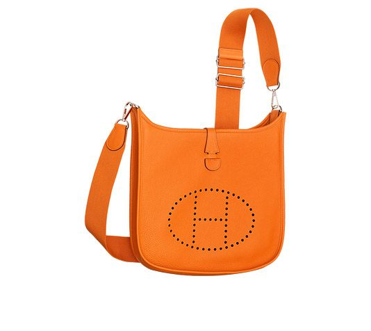 Evelyne Poche III 29 Hermes shoulder bag in orange taurillon ...