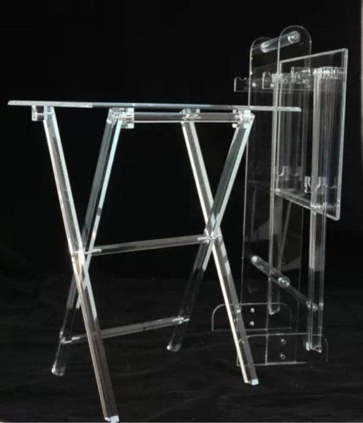 Clear Acrylic Lucite Set of 2 Folding Snack TV Trays with Stand