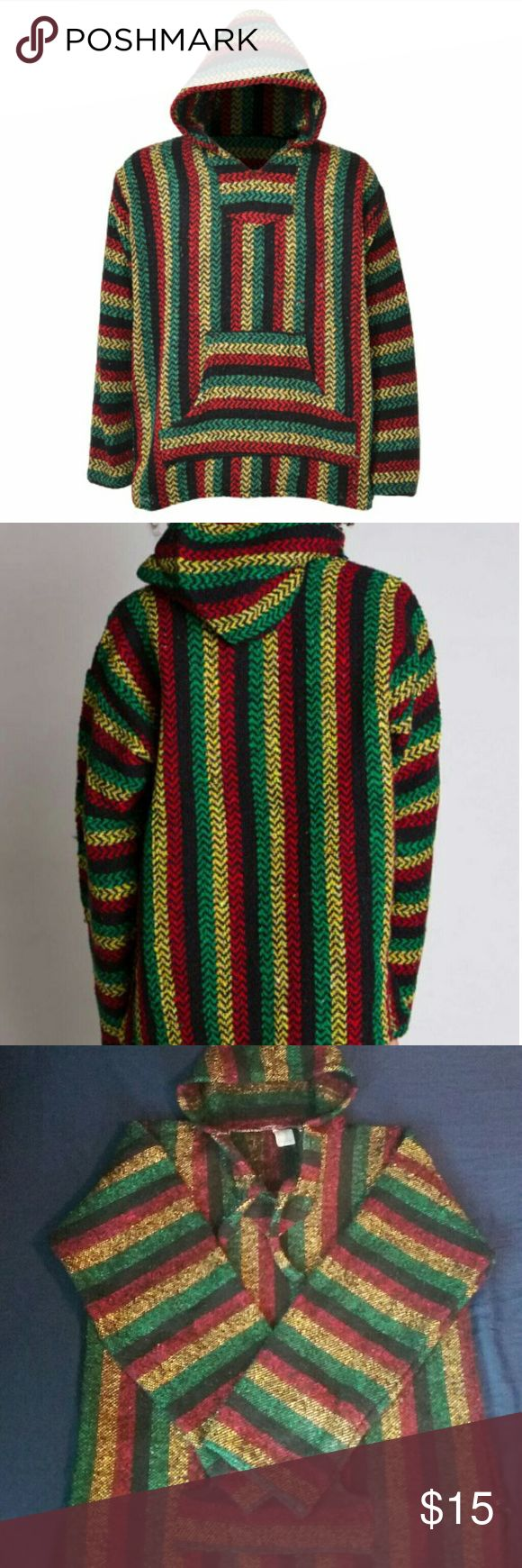 Rasta colored Baja hoodie This super soft and huge baja hoodie can be for both men and women. It's very comfy and good for bonfires and camping.   It's very soft on the inside and will keep you warm. There's pilling from being washed but its clean and it has no stains or holes. It's very long.  I bought it at a gift shop in San Diego but it's just not for me, so hopefully it will go to someone who will love to wear this. Shirts Sweatshirts & Hoodies