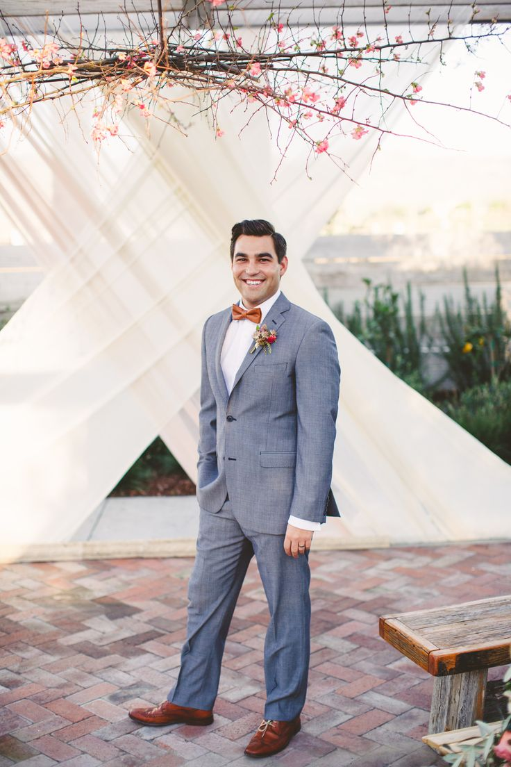 Wedding ceremony inspiration. Groom style. Grey suit with brown shoes. Groom hair inspiration. | Modern & Earthy Biddle Ranch Styled Shoot | Lovelyfest Event Design