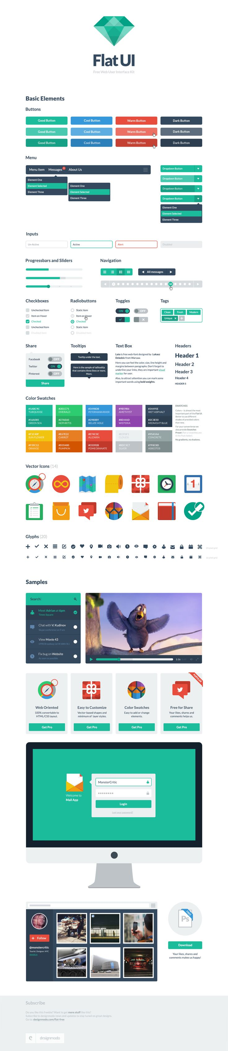 Flat UI Free - Flat UI Free is made on the basis of Twitter Bootstrap in a stunning flat-style, and the kit also includes a PSD version for designers.