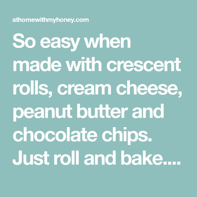 So easy when made with crescent rolls, cream cheese, peanut butter and chocolate chips. Just roll and bake. Print Chocolate Chip and Peanut Butter Rolled Cookies Ingredients 1 can seamless crescent rolls 8 oz cream cheese room temperature ⅓ cup sugar 2 tsp vanilla ¾ cup mixed peanut butter and chocolate chips Instructions Beat sugar, …