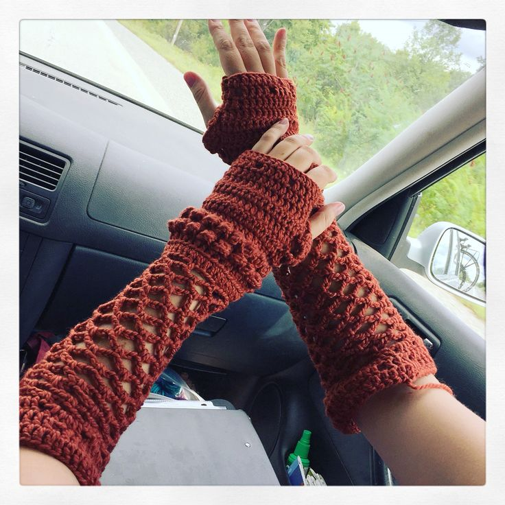 Long fingerless mesh gloves! Crocheted with an H Hook and a bulky blend of wool and cashmere :)