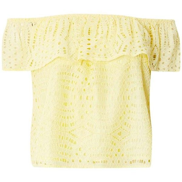 Dorothy Perkins Yellow Lace Frill Bardot Top (€45) ❤ liked on Polyvore featuring tops, yellow, frilly tops, dorothy perkins, beige top, lace top and lace ruffle top