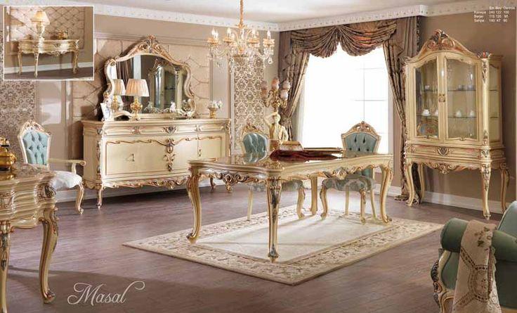 Helena Lüks Klasik Yemek Odası Takımı.  #YemekOdası #DiningRoom #Decoration #Ev #Dekorasyon #Moda #Mobilya #Furniture